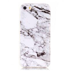 Etui na iPhone 5 / 5s silikonowe TPU marmur - biały.