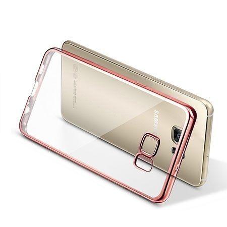 Samsung Galaxy S6 Edge przezroczyste etui platynowane SLIM  - różowy