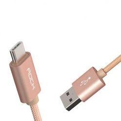 Rock Metalic aluminiowy kabel USB - C , Typ-C - 1m - różowy.