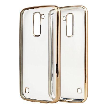 LG K10 przezroczyste silikonowe etui platynowane SLIM  - Złoty.