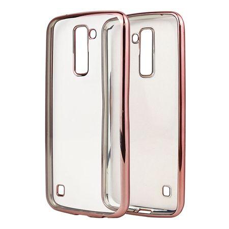 LG K10 przezroczyste silikonowe etui platynowane SLIM  - Różowy.