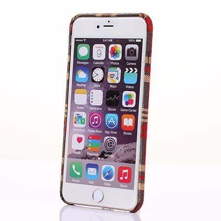 Etui na iPhone 6 / 6s Canvas materiałowe elastyczne - Czerwona krata.