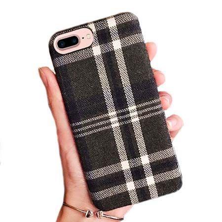 Etui na iPhone 7 Plus Canvas materiałowe elastyczne - Szara krata.