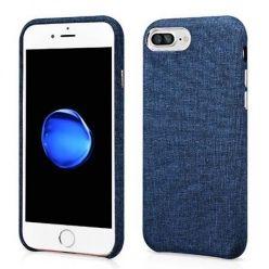 Etui na iPhone 7 Plus Canvas materiałowe elastyczne - Jeans granatowy.