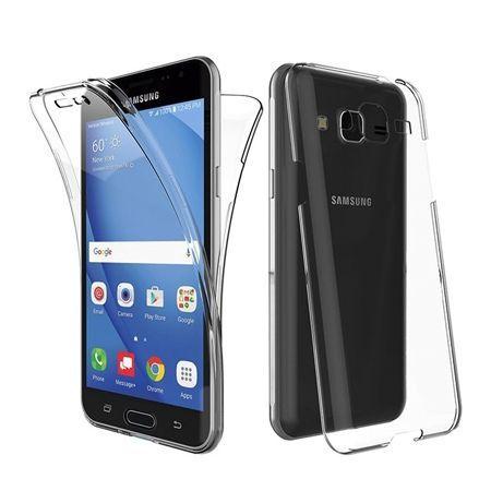 Etui na Galaxy J3 2016 silikonowe 360 Full przód i tył - przezroczyste