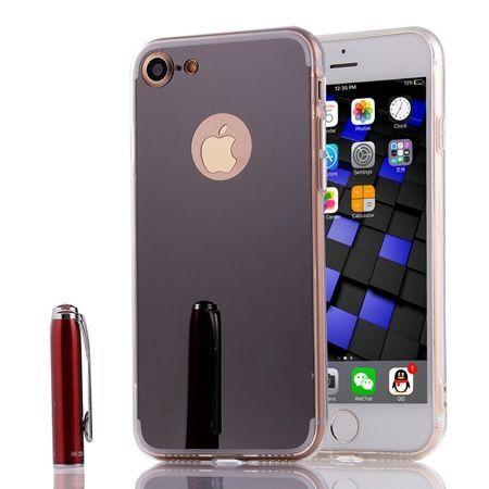iPhone 8 mirror - lustro silikonowe etui lustrzane TPU - Czarny.
