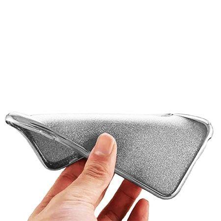 iPhone 8 etui brokat silikonowe platynowane SLIM kolor (Gunmetal) - Czarny.