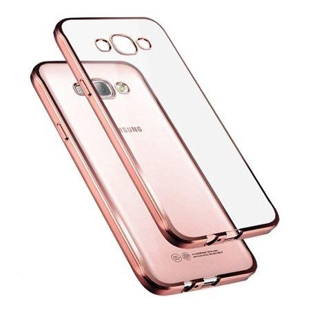 Galaxy J5 2016r przezroczyste silikonowe etui platynowane SLIM - Różowy.