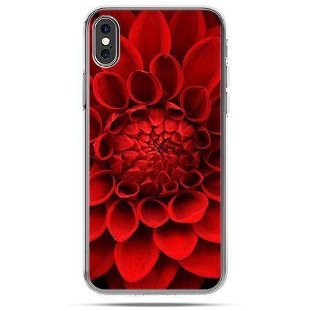 Etui na telefon iPhone X - czerwona dalia