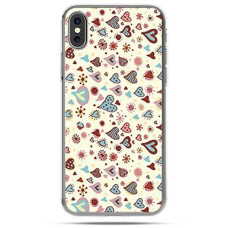 Etui na telefon iPhone X - kolorowe serca