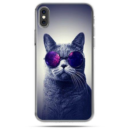 Etui na telefon iPhone X - kot hipster w okularach