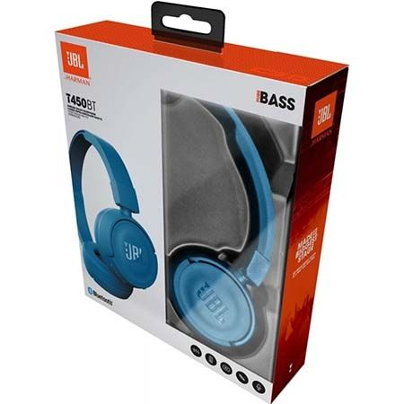 Nauszne słuchawki z mikrofonem JBL - Niebieskie.