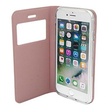 Etui na iPhone 7 -  S View z klapką - Różowy.