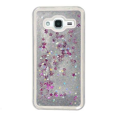 Eui na telefon Galaxy J3 2016 z ruchomym płynem w środku Stardust - Srebrny brokat.