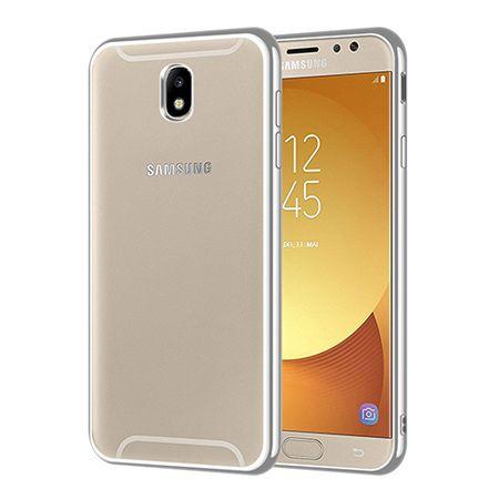 Samsung Galaxy J7 2017 - przezroczyste etui platynowane SLIM - Srebrny.