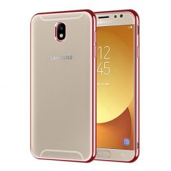 Samsung Galaxy J7 2017 - przezroczyste etui platynowane SLIM - Różowy.