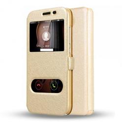 Etui na Huawei Y5 II - Flip Quick View z klapką dwa okienka - Złoty.