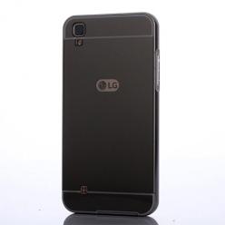 Etui na LG X Power - Mirror bumper case - Grafitowy.