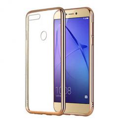 Etui na Huawei P Smart - silikonowe platynowane SLIM - Złoty.