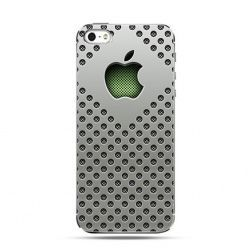 Etui na telefon srebrny mesh logo Apple.