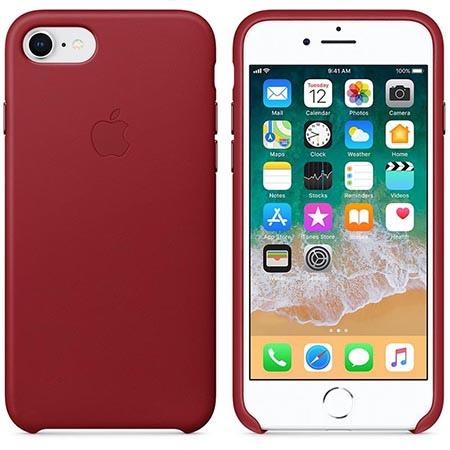 Oryginalne etui Apple na iPhone 8 Leather Case - Skórzane Czerwony