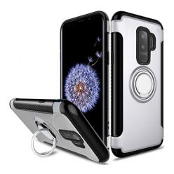 Etui na Samsung Galaxy S9 - Pancerne Magnet Ring - Srebrny.