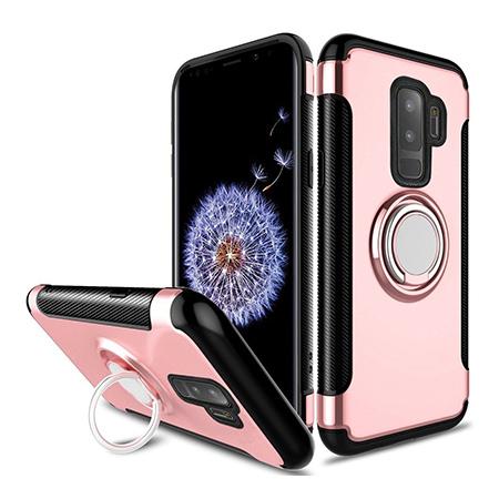 Etui na Samsung Galaxy S9 - Pancerne Magnet Ring - Różowy.