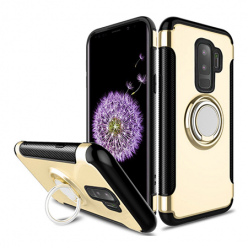 Etui na Samsung Galaxy S9 - Pancerne Magnet Ring - Złoty.