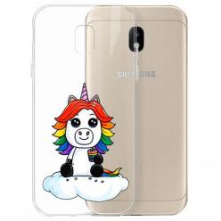 Etui na Samsung Galaxy J3 2017 - Tęczowy jednorożec na chmurce.