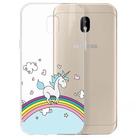 Etui na Samsung Galaxy J3 2017 - Jednorożec na tęczy.