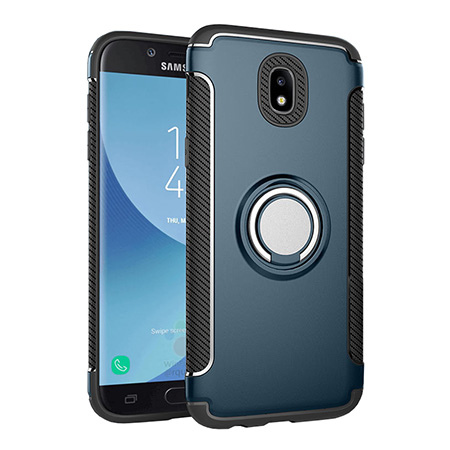Etui na Samsung Galaxy J7 2017 - Pancerne Magnet Ring - Niebieski stalowy.