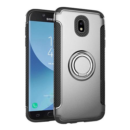Etui na Samsung Galaxy J7 2017 - Pancerne Magnet Ring - Srebrny.
