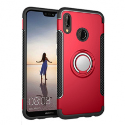 Etui na Huawei P20 Lite - Pancerne Magnet Ring - Czerwony.