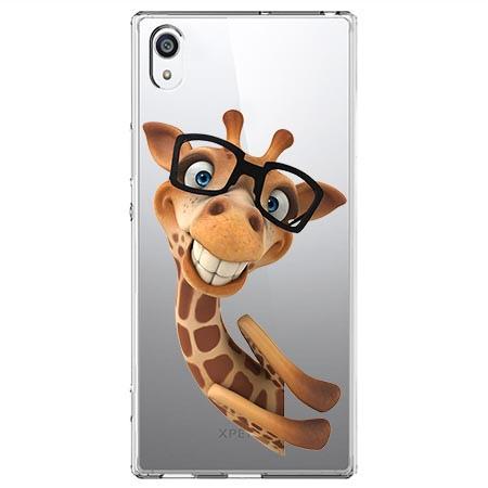 Etui na Sony Xperia XA1 - Wesoła żyrafa w okularach.