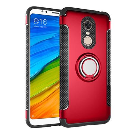 Etui na Xiaomi Redmi 5 Plus - Pancerne Magnet Ring - Czerwony.