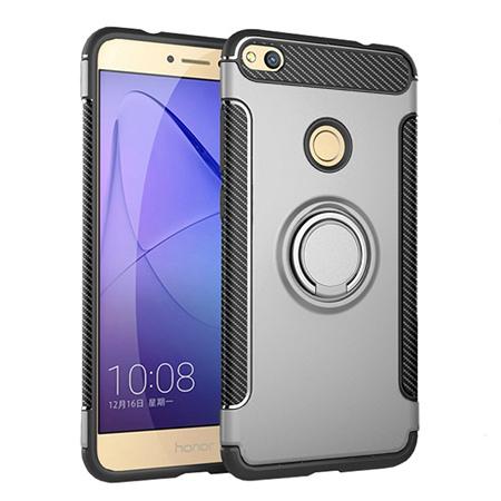 Etui na Huawei P9 Lite 2017 - Pancerne Magnet Ring - Srebrny.