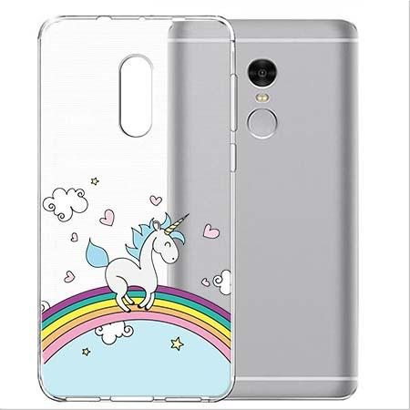 Etui na telefon Xiaomi Note 4X - Jednorożec na tęczy.