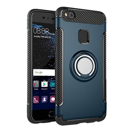 Etui na Huawei P10 Lite - Pancerne Magnet Ring - Niebieski stalowy.