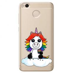 Etui na telefon Xiaomi Note 5A - Tęczowy jednorożec na chmurce.
