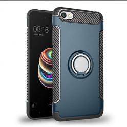 Etui na Xiaomi Redmi Note 5A - Pancerne Magnet Ring - Niebieski stalowy.