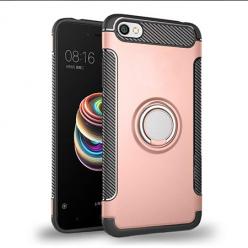 Etui na Xiaomi Redmi Note 5A - Pancerne Magnet Ring - Różowy.