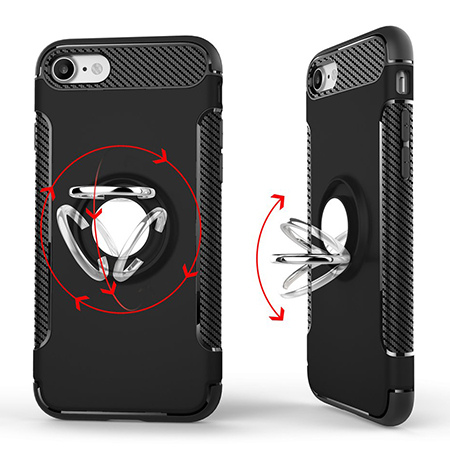 Etui na iPhone 7 - Pancerne Magnet Ring - Złoty.