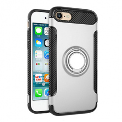 Etui na iPhone 7 - Pancerne Magnet Ring - Srebrny.