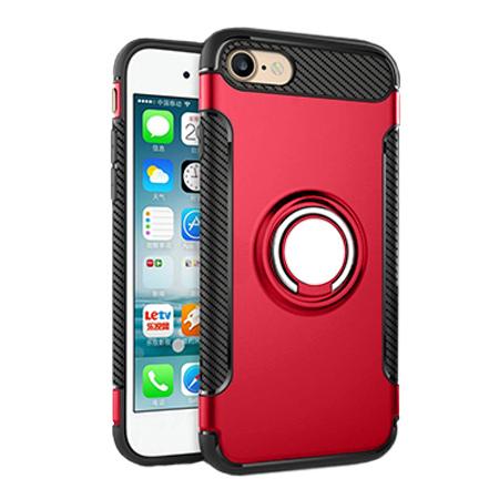 Etui na iPhone 8 - Pancerne Magnet Ring - Czerwony.
