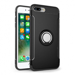 Etui na iPhone 7 Plus - Pancerne Magnet Ring - Czarny.