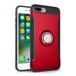 Etui na iPhone 7 Plus - Pancerne Magnet Ring - Czerwony.