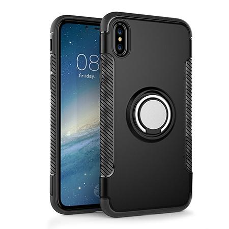 Etui na iPhone X - Pancerne Magnet Ring - Czarny.