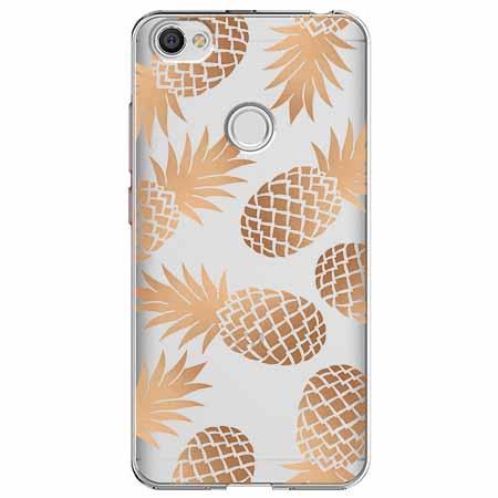 Etui na Xiaomi Note 5A Prime - Złote ananasy.