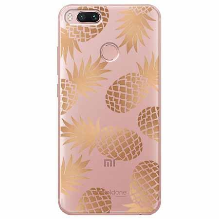 Etui na Xiaomi Mi 5x - Złote ananasy.