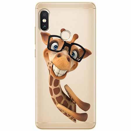 Etui na Xiaomi Note 5 Pro - Wesoła żyrafa w okularach.